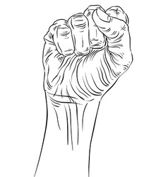 Clenched fist held high in protest hand sign vector