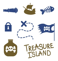 Tresure island game icons vector