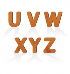 Wood grain alphabet letters vector