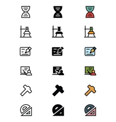 Education outline filled and colored icons 4 vector