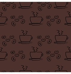 Seamless pattern dark brown background with coffee vector