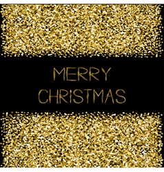 Gold sparkles glitter frame merry christmas text vector