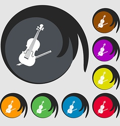Violin icon symbols on eight colored buttons vector