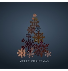 Stylized snowflakes christmas tree silhouette vector