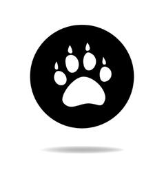 Animal dog paw black and white flat icon vector image