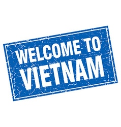 Vietnam blue square grunge welcome to stamp vector