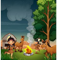 A farm with Indian girls vector image vector image