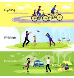 Active leisure people horizontal banners vector