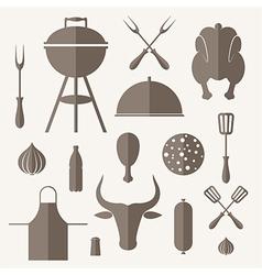 Barbecue grill icon set vector