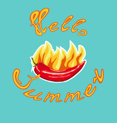 chili pepper sticker and lettering hello summer vector image