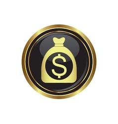dollar in bag icon button gold copy vector image vector image