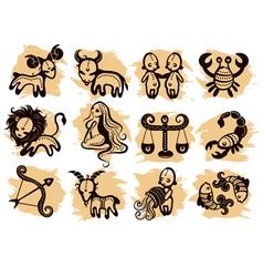 Ethnic horoscope icons vector