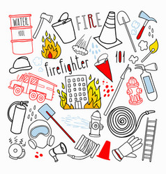 firefighting hand drawn doodle firefighter vector image