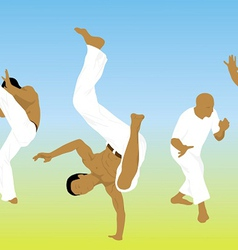Five men are engaged capoeira on sand vector