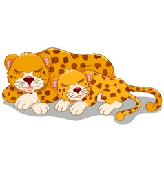 Funny cheetah cartoon with her baby vector