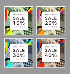 Graphic sale pop art abstract collage pattern vector