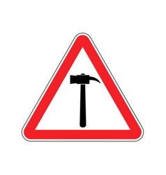 Hammer warning sign red repair hazard attention vector