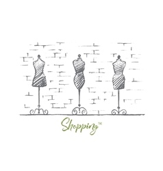 Hand drawn female body mannequins in fashion shop vector