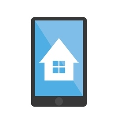 Isolated house inside smartphone design vector