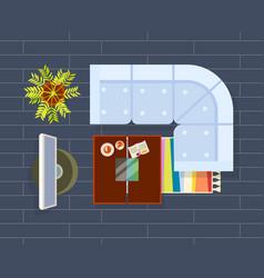 Living room planning dark vector