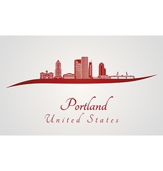 Portland skyline in red vector