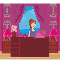 relax at the computer vector image