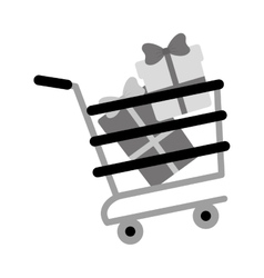 Shopping cart online boxes gift presents gray vector