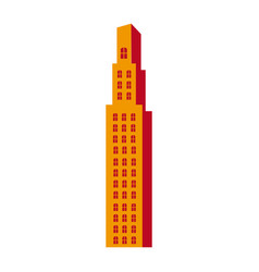 silhouette orange color with skyscraper building vector image
