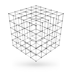 Wireframe polygonal geometric element Cube with vector image