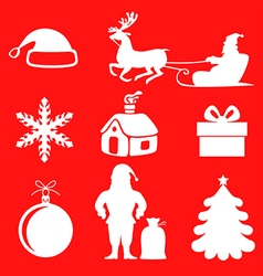 Xmas sil set red vector