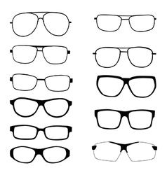 Set of different eyeglasses and sunglasses vector