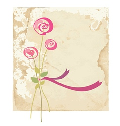 Greeting card with rose flower on paper vector