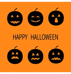 Happy halloween six black silhouette funny smiling vector