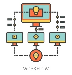 Workflow line icons vector