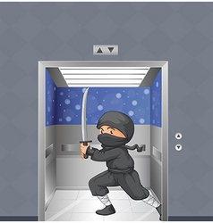 A ninja inside the elevator vector
