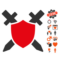 Guard shield icon with valentine bonus vector