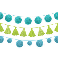 Colorful vibrant birthday party pom poms vector
