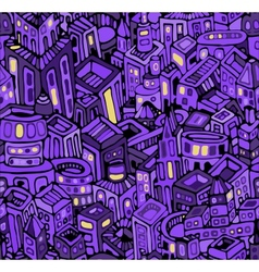 Night city in violet seamless pattern vector
