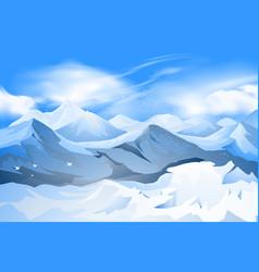 Mountains peak with snow scene vector