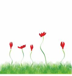 Grass and flowers vector