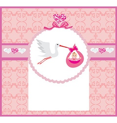 Baby girl card - a stork delivering a cute baby vector