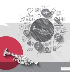 Hand drawn trumpet icons with icons background vector image