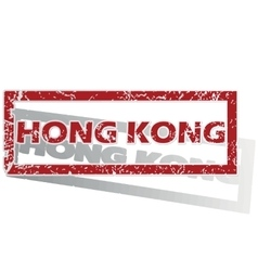 Hong kong outlined stamp vector