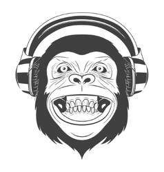 Monkey with headphones vector