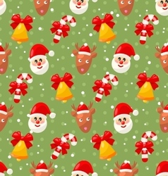 Seamless pattern with Santa Claus and Christmas vector image
