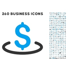 Dollar location icon with flat set vector