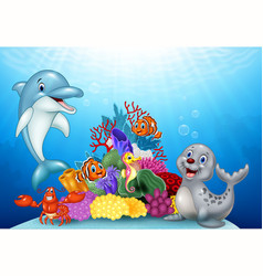 Cartoon tropical fish with beautiful underwater vector