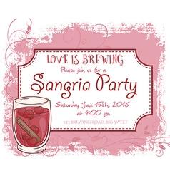 Hand drawn sangria party invitation card vintage vector