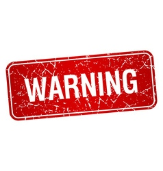 Warning red square grunge textured isolated stamp vector
