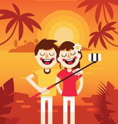 Couple vacation selfie 1 vector